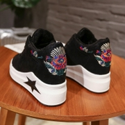 Shoes 2017 new Korean version of the increase in women's shoes thick at the end of wild sports shoes autumn and winter black cotton tide