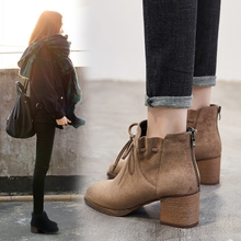 The children of Chelsea boots with thick boots 2017 new shoes in autumn and winter with warm shoes high-heeled boots Martin cashmere