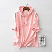Short sleeved sweater female hooded cotton blouse summer student BF Pink Hoodie letter Korean tide female thin section