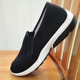 老北京舒适坡跟 布鞋男软底休闲鞋圆头宽松工作鞋 黑色厚底低帮鞋
