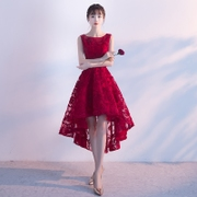 Evening dress 2017 new short long before after the banquet are sweet red dress Korean Short Princess Bride toast