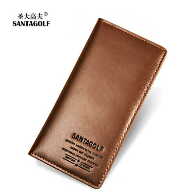 Leather plain leather men's wallet long folded wallet card fashion business leather wallet man bag
