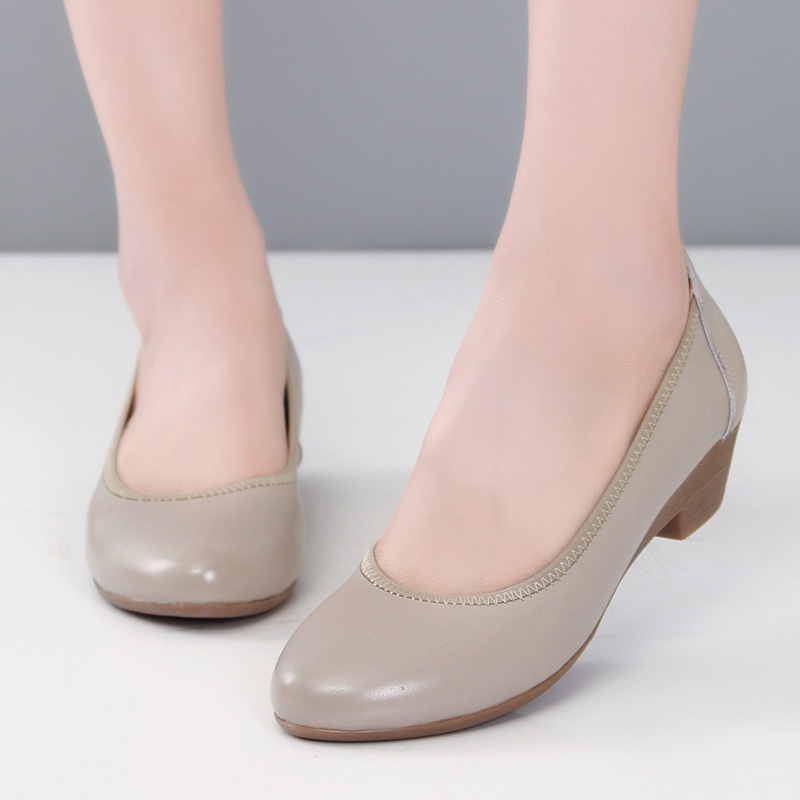 Pig head layer cowhide leisure flat single flat shoes with leather mother soft bottom shoes lady napa low help shoes big yards