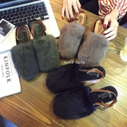 Autumn and winter hair Baotou Maomao shoes slippers shoes head bandage Strappy buckle shoes after the word
