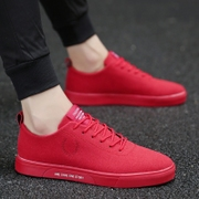 Autumn and winter trend of Korean male student leisure shoes and shoes all-match cashmere thermal shoes red sports shoes