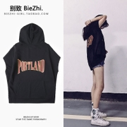 Korean version of the ulzzang BF wind summer student Harajuku hip hop loose sleeveless Hoodie sweater female thin