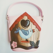 DG Baby handbag Bucket bag pink cartoon bird floret patch Foreign Trade original order
