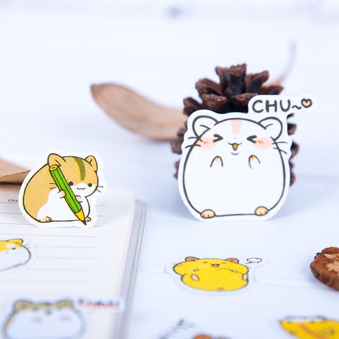 手帐贴纸表情贴纸 卡通动物小仓鼠贴纸包 日记笔记本装饰DIY贴纸