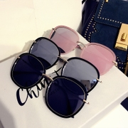 Retro Black Sunglasses lady tide 2016 Korea round polarizing sunglasses pink star personality long square face