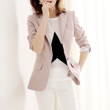 Japanese brand summer suit thin jacket three-dimensional tailoring gray stripes chic workplace small suit female jacket