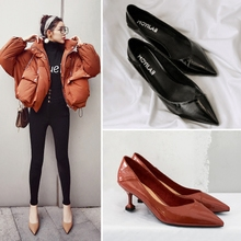 high heels female pointed fine with Korean 2018 spring and autumn new 5CM with cats and wild black single shoes