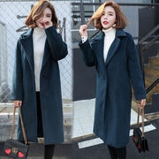 Han edition of new fund of 2016 autumn winters is loose type plus cotton cashmere coat in long and thick cocoon of wool woolen cloth coat female