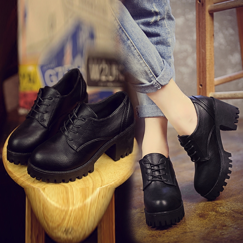 2017 end of the spring and autumn period and the type of British students thick with high heels, with low help restoring ancient ways round head for women's shoes, leisure shoes