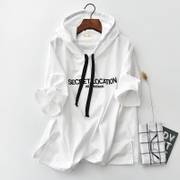 Short sleeved sweater female hooded head sleeve blouse in Korean BFt shirt embroidered Hoodie female student tide thin