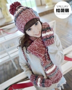 Hat scarf glove three piece female autumn winter sweet Korean tide students plus Cashmere Knitted Warm suit