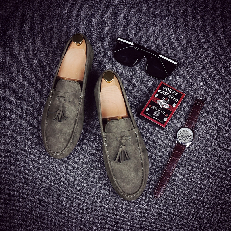 Doug shoes male tassel scrub lazy British style shoes summer shoes 2017 new Korean all-match casual shoes
