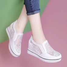 White shoes female mesh yarns breathable spring and summer 2018 new game Korean love wild rose cake bottom loafers shoes