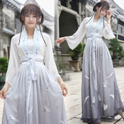 Summer new modified Hanfu female embroidery chiffon blouse + Chinese wind chest two wear skirt suit dress female