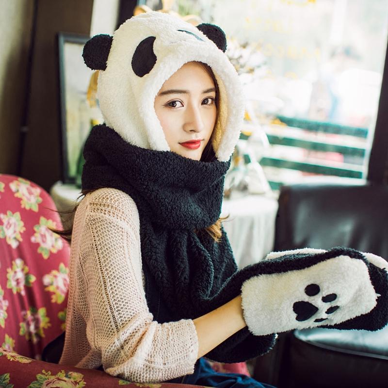 秋冬学生帽子女熊猫儿童连体帽骑车加厚保暖帽子围巾手套三件一体