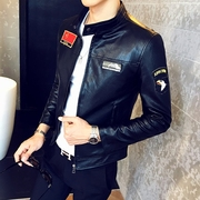 Fall short collar Motorcycle Leather Men's slim casual jacket Pu Korean men leather leather jacket tide simulation