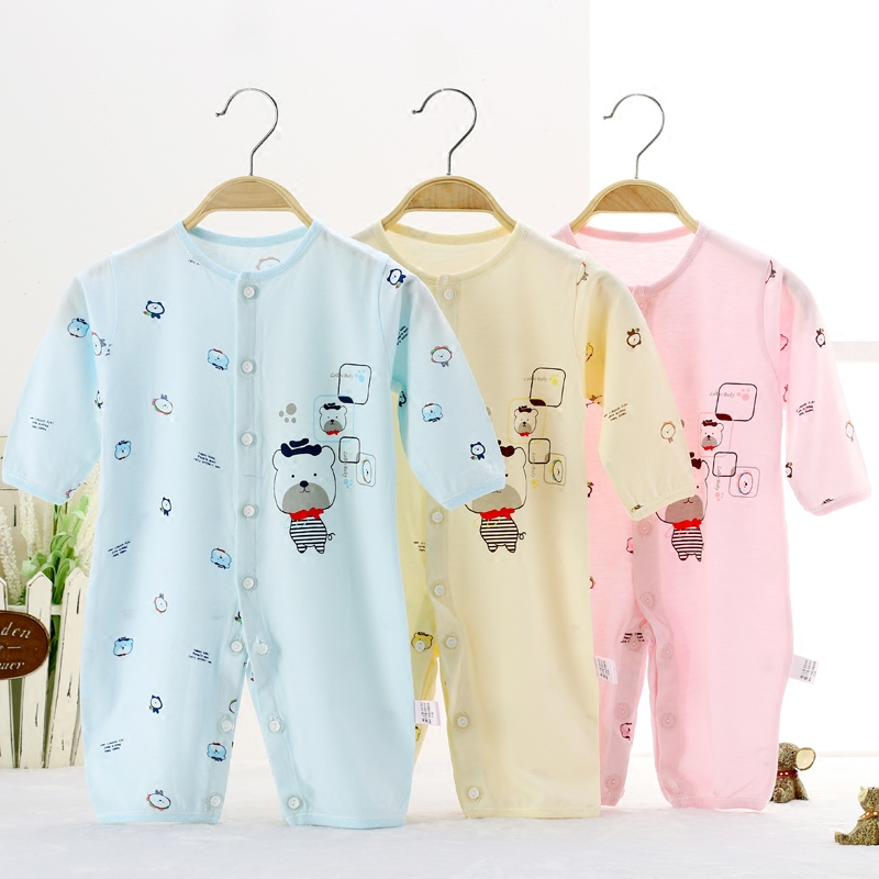 Baby romper summer long thin bamboo fiber clothing stalls close air conditioning service climbing baby Onesies kids wear pajamas