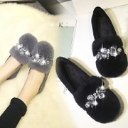 Small size shoes soled shoes with velvet warm Doug winter rabbit fur Xiemian scoop shoes shoes code 41-43