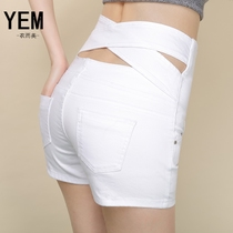 Club sexy fat girl Natalie Choquette waist denim shorts size mm white Korean version of the slim wide leg hot pants boom