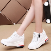 White shoe 2017 female new autumn increase in women 8cm all-match side zipper shoes soled sports shoes