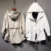 The new spring long windbreaker Korean hooded white jacket casual waist drawstring thin jacket female tide