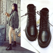 Martin leather soled boots female 2017 new boots all-match increased British style boots shoes female winter shoes