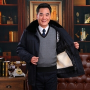Sheepskin Fur thick jacket old fur coat leather leather sheepskin coat male Alfred