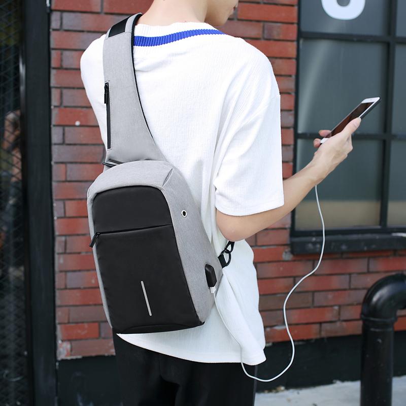 防盗USB充电胸包牛津布胸前包男9.7寸10寸平板小包单肩斜挎斜背包