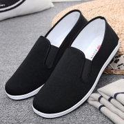 Old Beijing cloth shoes, men's lazy, single shoes, work cloth shoes, casual shoes, men's black foot push canvas, old and middle-aged cloth shoes