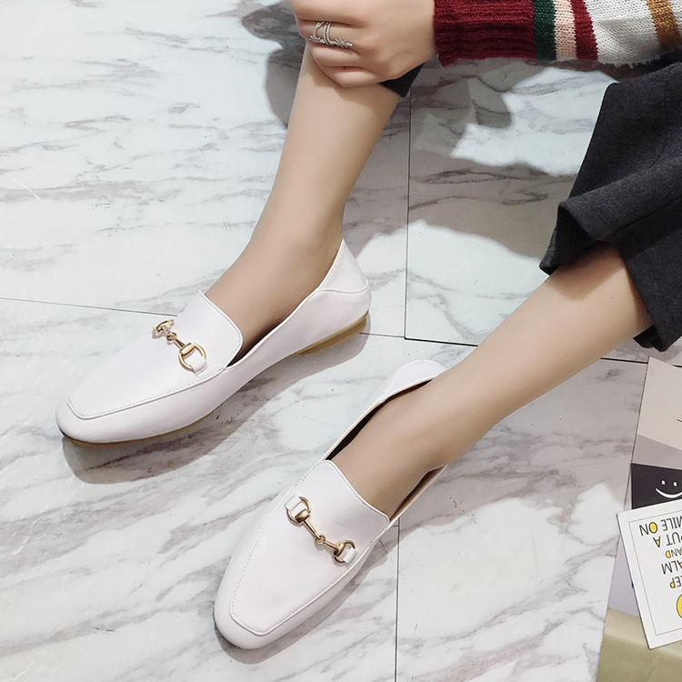 In the spring of 2017 and two vintage wear loafer metal buckle horsebit flat women shoe shoes half dragged