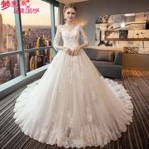 Wedding dress a word shoulder V collar slim Princess big yards Qi to 2017 new large tailing wedding dress long sleeve winter