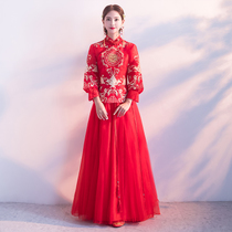 Show WO clothing bride 2017 the new red toast clothing wedding dress costume Chinese style wedding dress show and the winter