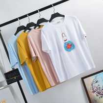 Small fish Cotton t-Shirt female loose short-sleeved top students of spring summer dresses 2018 new wild bottoming shirt compassionate