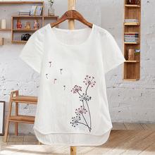 Лето женщины сочувствовать чистый белый хлопок копия конопля льняная ткань вышивка проведите половину короткие рукава чистые рукава большой свободный t футболки женщина