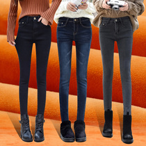 Elastic jeans Female 2017 new pencil pants winter decoration body thickened feet pants high waist trousers