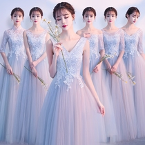 Bridesmaid clothing winter 2017 new long gray bridesmaid dresses slim fit sisters regiment the wedding was thin dress female