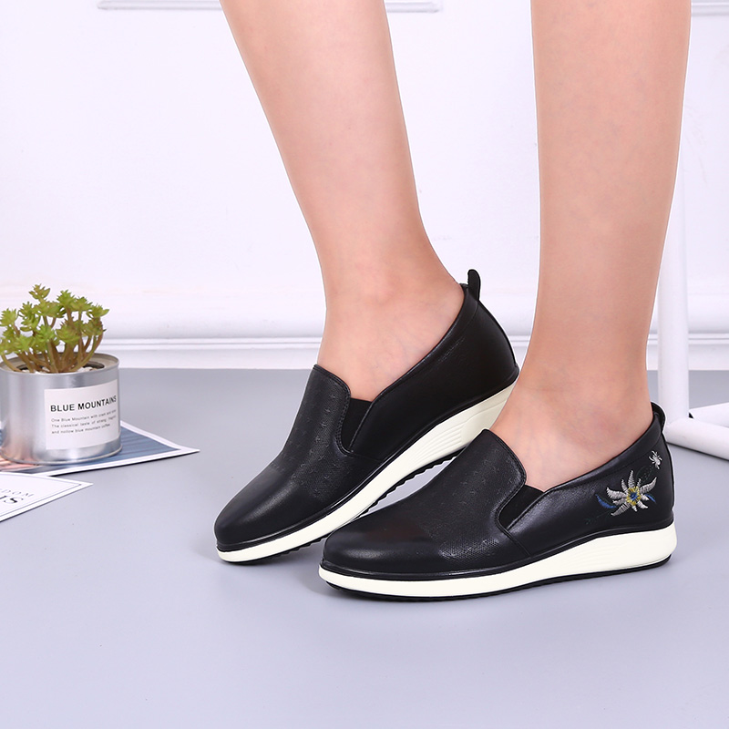 Spider King women's shoes 2018 wedge heel shoes simple fashion single shoes leather sports shoes flat white shoes