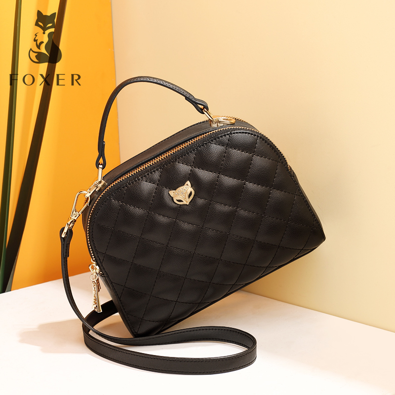 Golden Fox Bag 2019 New Autumn and Winter Small Fragrance Cowskin Handbag Single Shoulder Small Square Bag and Girl Bag Slant Bag