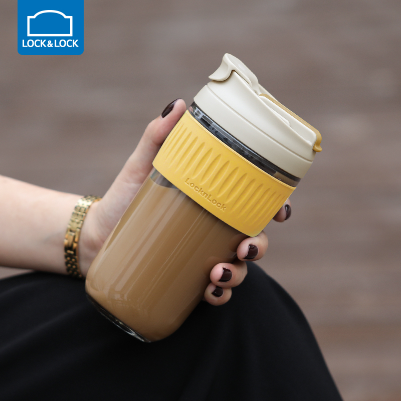 Le buckle glass water cup women with straw simple portable cute tea cup large-capacity coffee cup man