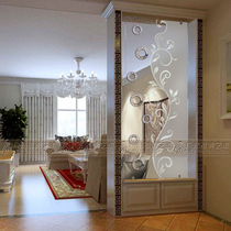 Custom Nordic art glass partition wall screen frosted creative entry living room entrance simple craft glass flower