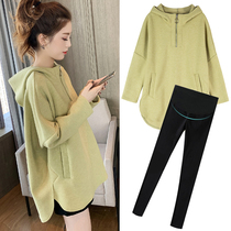 Pregnant women spring coat 2020 new loose coat long sweater hooded thick spring tide mother dress