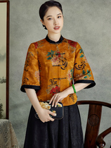 Xixue 2021 new summer female high-end Chinese style fragrant cloud yarn Cheongsam Style seven-point sleeve short Tang suit jacket
