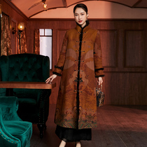 2021 new winter Chinese style fragrant cloud yarn 40 m long Tang suit coat cotton jacket womens Chinese windbreaker cotton coat