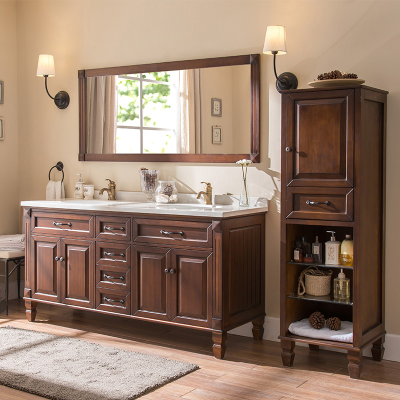 American solid wood bathroom cabinet combination toilet washstand oak floor washbasin washbasin counter