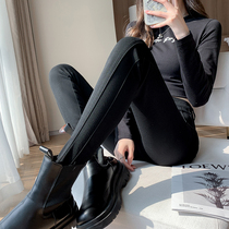 Black leggings women outer wear thin spring and autumn and winter stitching high-waisted skinny plus velvet thickening feet pencil long pants