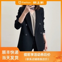 Small blazer womens spring and autumn clothing 2021 New Korean version of minimalist double-breasted black casual style suit top